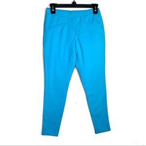 Hue Baby Blue Faux Pockets Leggings EUC Small